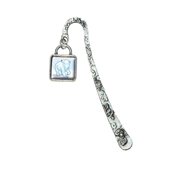 Polar Bear Book Bookmark with Square Antiqued Charm