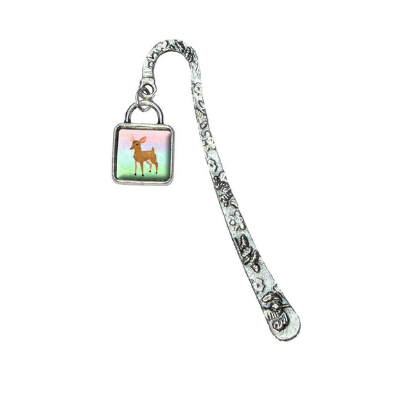 Oh Deer Me Book Bookmark with Square Antiqued Charm