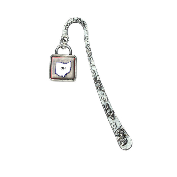 Ohio OH State Outline on Faded Blue Book Bookmark with Square Antiqued Charm