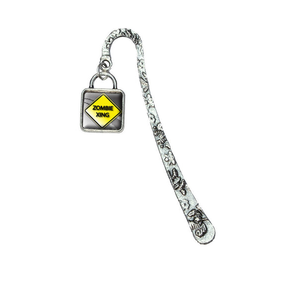 Zombie Xing Crossing Yellow Caution Sign Book Bookmark w/ Sqr Antiqued Charm