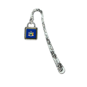 New York State Flag Book Bookmark with Square Antiqued Charm