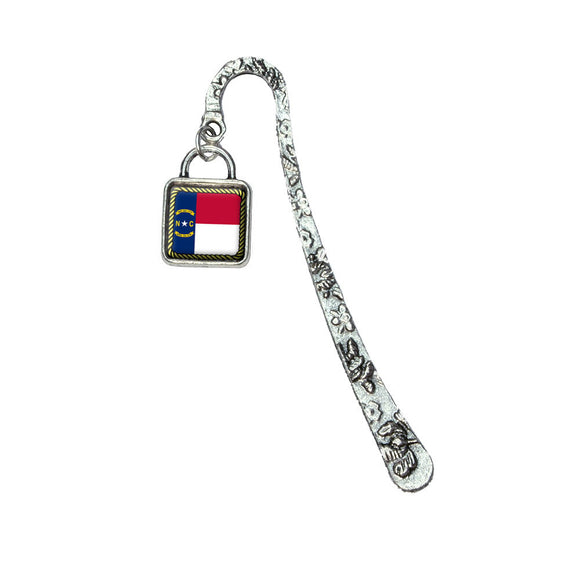 North Carolina State Flag Book Bookmark with Square Antiqued Charm