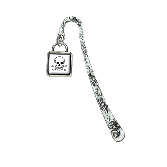 Poison Hazard Symbol Book Bookmark with Square Antiqued Charm