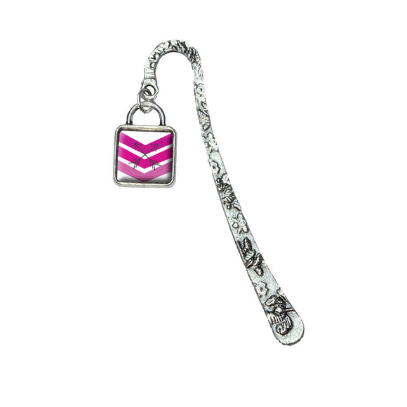 Pink Chevrons & Arrows Book Bookmark with Square Antiqued Charm