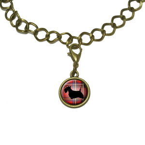 Scottie Dog on Red Plaid Scottish Terrier Charm with Chain Bracelet