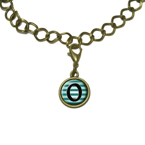 Letter O Initial Black Teal Stripes Charm with Chain Bracelet