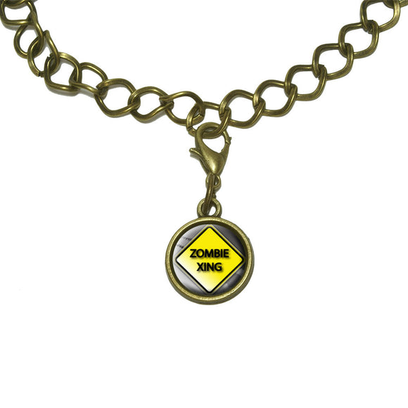 Zombie Xing Crossing Stylized Yellow Grey Caution Sign Charm with Chain Bracelet