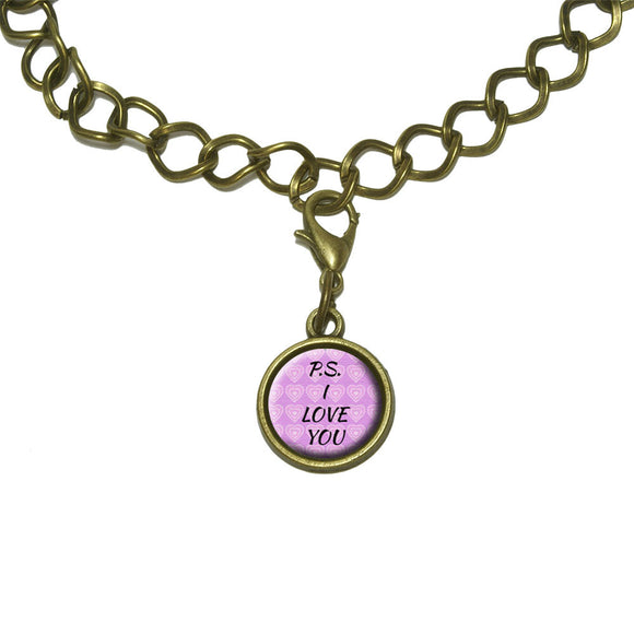 PS I Love You on Pink Hearts Pattern Charm with Chain Bracelet