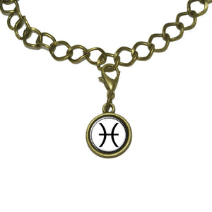 Zodiac Sign Pisces Charm with Chain Bracelet