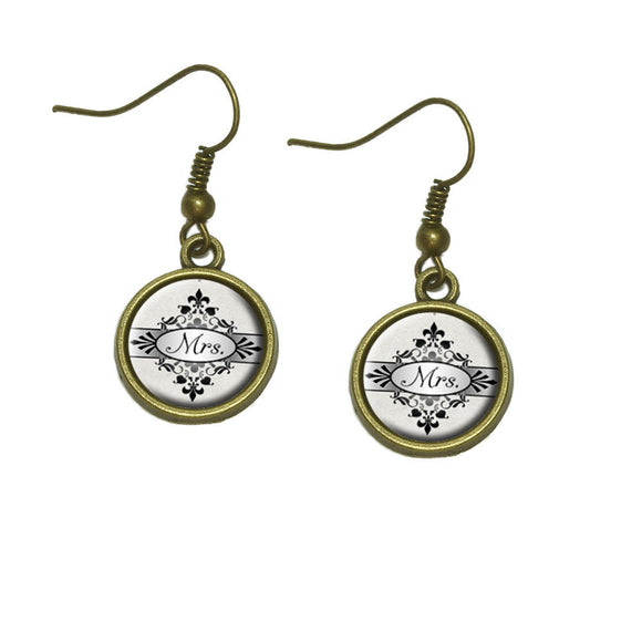 Mrs on Floral Pattern Bride Woman Hers Wife Dangle Dangling Drop Earrings