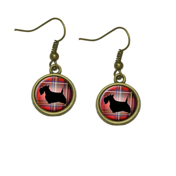 Scottie Dog on Red Plaid Scottish Terrier Dangle Dangling Drop Earrings
