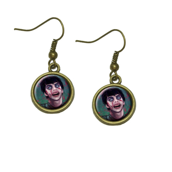 Zombified Boy Dangle Dangling Drop Earrings