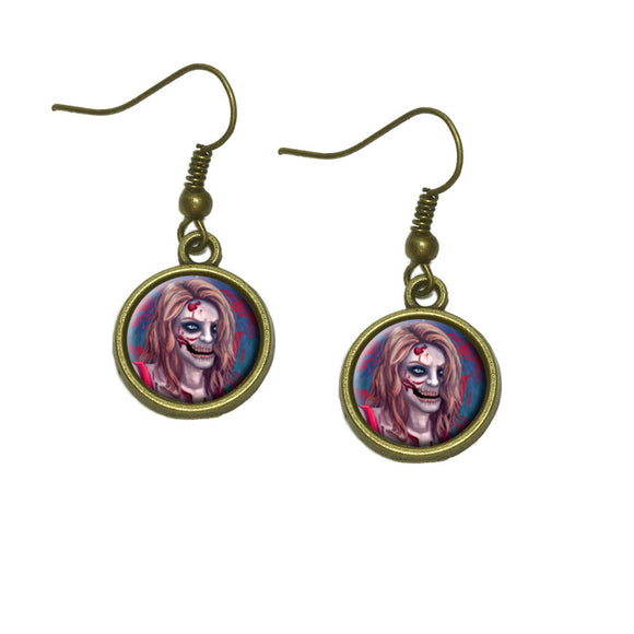 Zombified Girl Dangle Dangling Drop Earrings