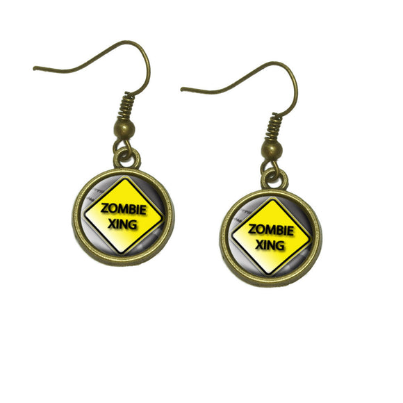 Zombie Xing Crossing Stylized Yellow Grey Caution Sign Dangling Drop Earrings