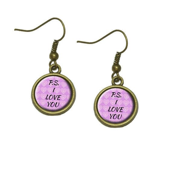 PS I Love You on Pink Hearts Pattern Dangle Dangling Drop Earrings