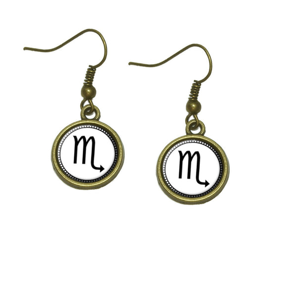 Zodiac Sign Scorpio Dangle Dangling Drop Earrings