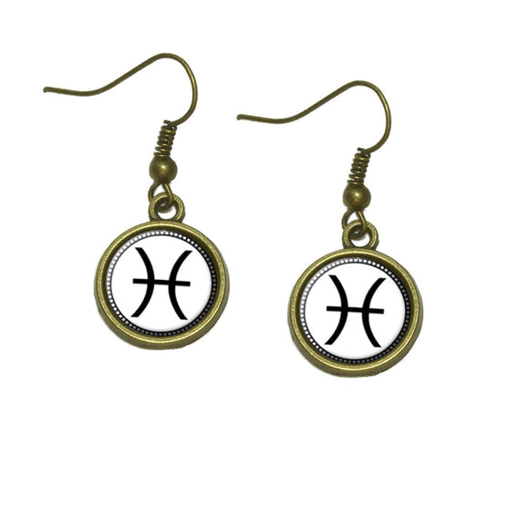 Zodiac Sign Pisces Dangle Dangling Drop Earrings