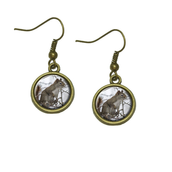 Winter Forest Tree Squirrel Dangle Dangling Drop Earrings
