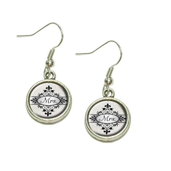 Mrs on Floral Pattern Bride Woman Hers Wife Dangling Drop Charm Earrings