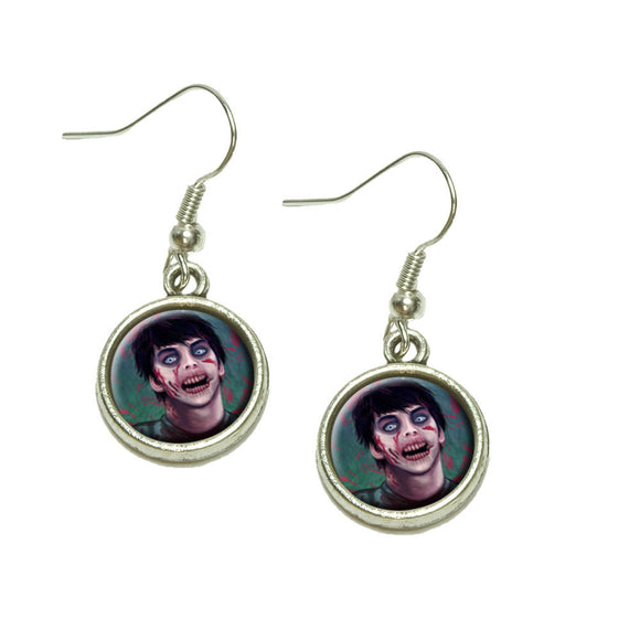 Zombified Boy Dangling Drop Charm Earrings