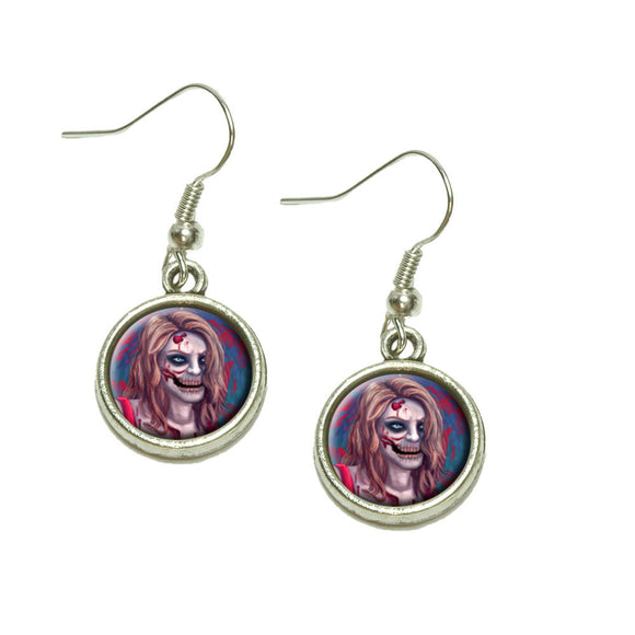 Zombified Girl Dangling Drop Charm Earrings