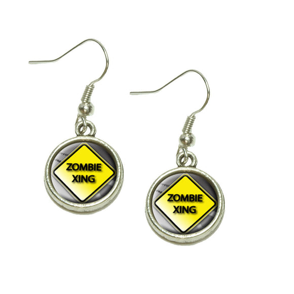 Zombie Xing Crossing Stylized Yellow Caution Sign Dangling Drop Charm Earrings