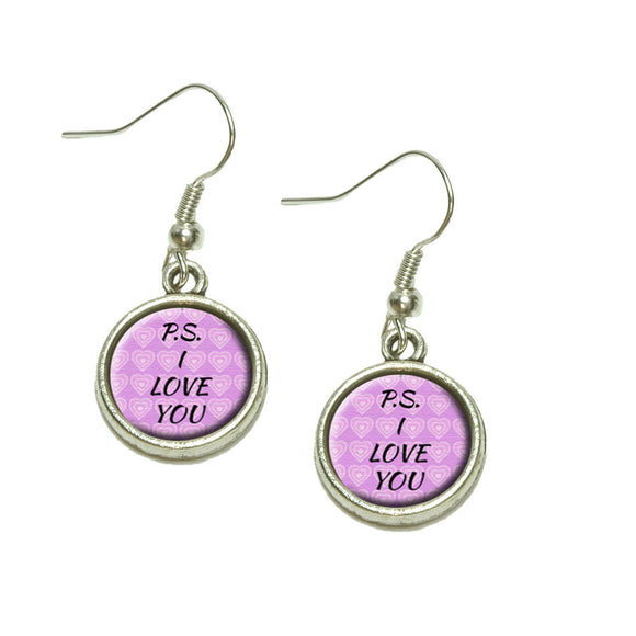 PS I Love You on Pink Hearts Pattern Dangling Drop Charm Earrings