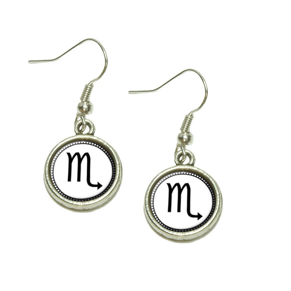 Zodiac Sign Scorpio Dangling Drop Charm Earrings