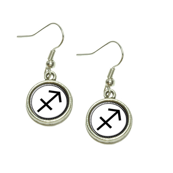 Zodiac Sign Sagittarius Dangling Drop Charm Earrings