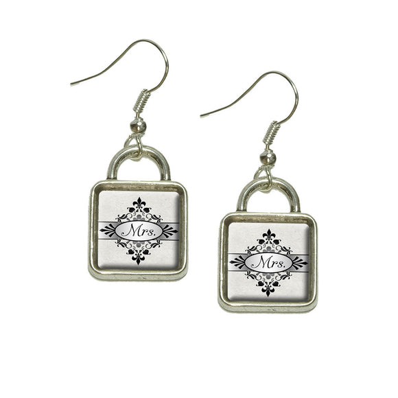 Mrs on Floral Pattern Bride Woman Hers Wife Dangling Drop Square Charm Earrings