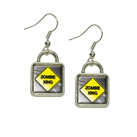 Zombie Xing Crossing Stylized Caution Sign Dangling Drop Square Charm Earrings
