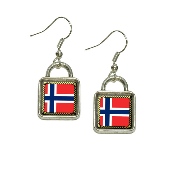 Flag of Norway Dangling Drop Square Charm Earrings