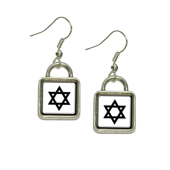 Star of David Dangling Drop Square Charm Earrings