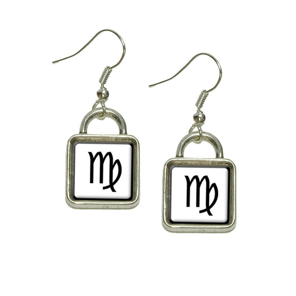 Zodiac Sign Virgo Dangling Drop Square Charm Earrings