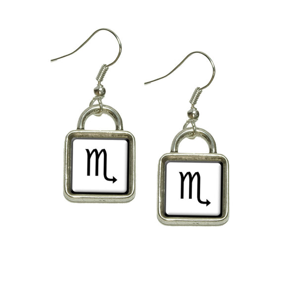 Zodiac Sign Scorpio Dangling Drop Square Charm Earrings