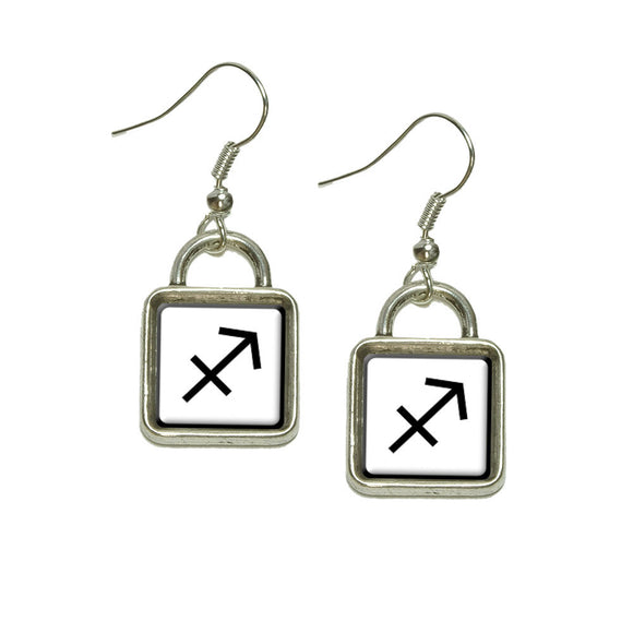 Zodiac Sign Sagittarius Dangling Drop Square Charm Earrings