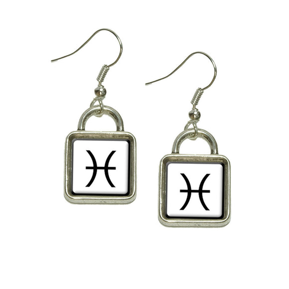 Zodiac Sign Pisces Dangling Drop Square Charm Earrings