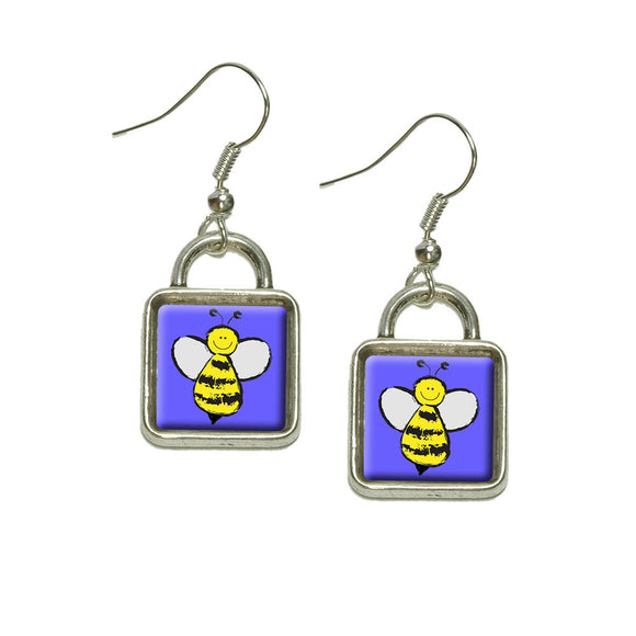Busy As A Bee Dangling Drop Square Charm Earrings