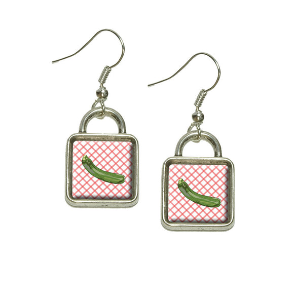 Zucchini Dangling Drop Square Charm Earrings