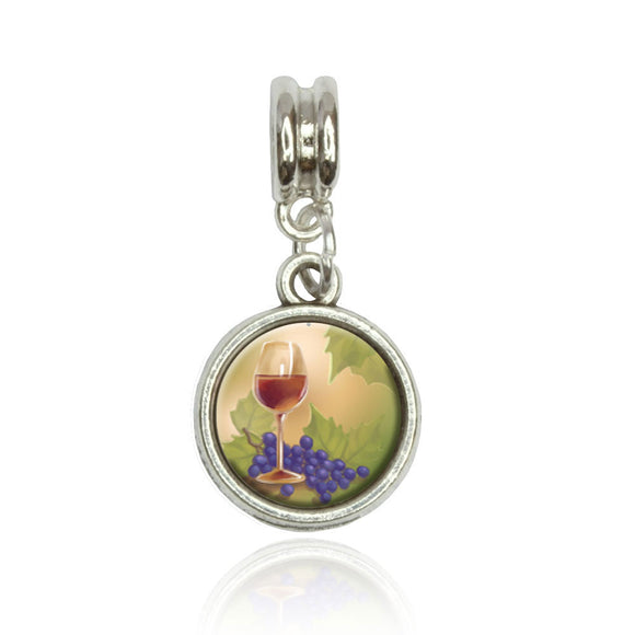 Wine Glass and Grapes Euro European Italian Style Bracelet Bead Charm