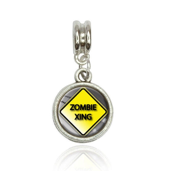 Zombie Xing Crossing Stylized Caution Sign European Style Bracelet Bead Charm