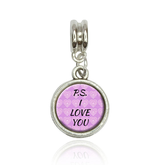 PS I Love You on Pink Hearts Pattern European Italian Style Bracelet Bead Charm
