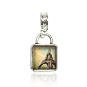 Watercolor Eiffel Tower Euro European Italian Style Bracelet Bead Sqr Charm