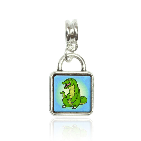 Happy Alligator Euro European Italian Style Bracelet Bead Sqr Charm