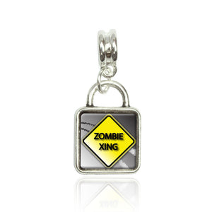 Zombie Xing Crossing Stylized Yellow Grey Caution Sign European Style Bracelet B