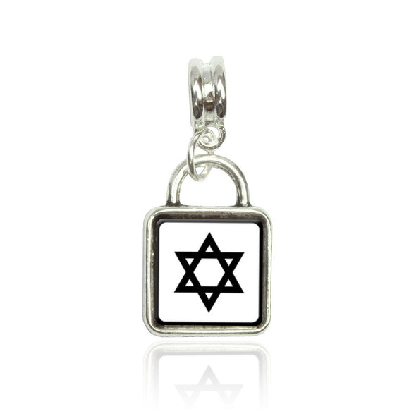 Star of David Euro European Italian Style Bracelet Bead Sqr Charm