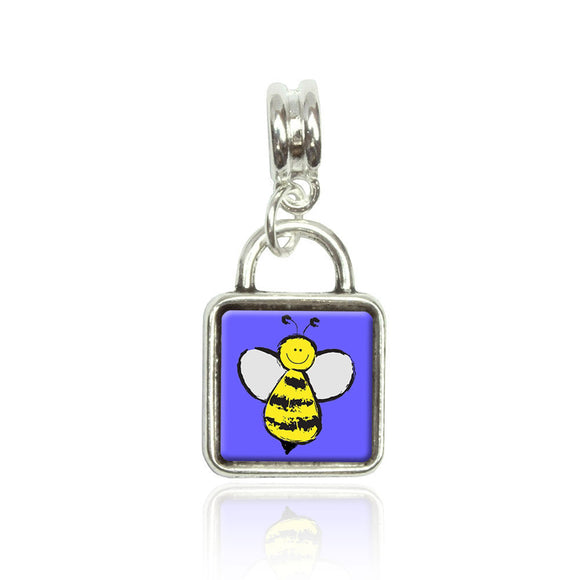 Busy As A Bee Euro European Italian Style Bracelet Bead Sqr Charm
