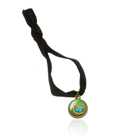 Robin's Nest with Eggs No Crease Stretchy Elastic Fold Over Hair Tie and Charm