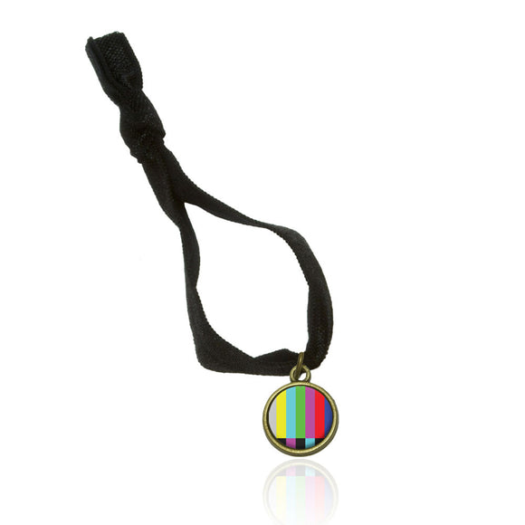 Test Television Color Bars Stretchy Elastic Fold Over Hair Tie and Charm