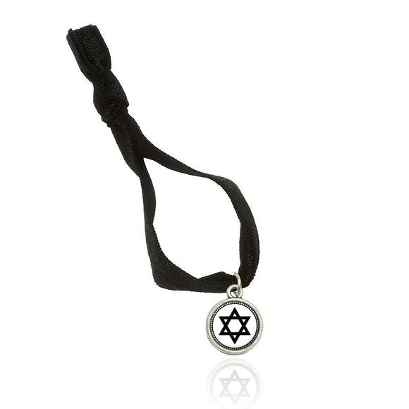 Star of David Double Fold Over Stretchy Elastic No Crease Hair Tie w/ Charm